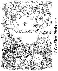 Vector illustration of floral frame Zen Tangle. Dudlart....