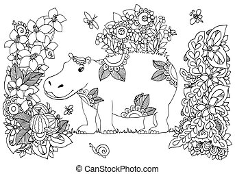 Vector illustration Zen Tangle, hippopotamus in a flower...