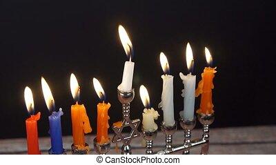 Hanukah candles celebrating the Jewish holiday Hanukkah...