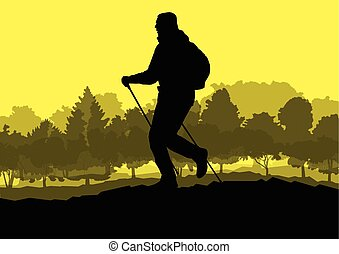 Man hiker Nordic walking with poles vector background forest mountain