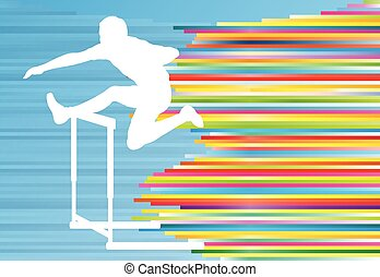 Track and field athlete competing during hurdle race barrier...