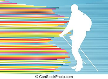 Nordic walking active man workout vector background...