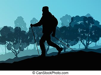 Man hiker Nordic walking with poles vector background forest...