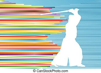 Kendo fighter vector background abstract illustration...