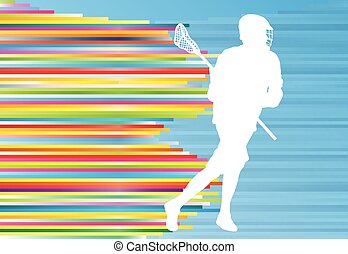 Lacrosse player action vector background concept