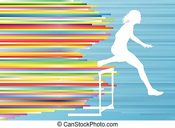 Female athlete jumping over hurdles, overcoming obstacles...