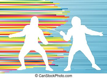 Fencing man duel abstract lines vector background concept...