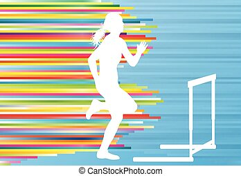 Female athlete jumping over hurdles, overcoming obstacles vector background