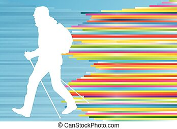 Nordic walking active man workout vector background