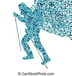 Man hiking adventure nordic walking with poles vector red illustration concept made of triangular