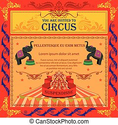 Vintage Circus Cartoon Poster Invitation for Party Carnival...
