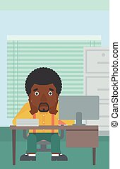 Tired man sitting in office vector illustration - An...