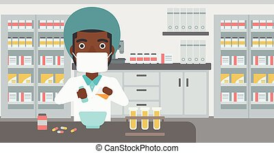 Pharmacist preparing medication. - An african-american young...
