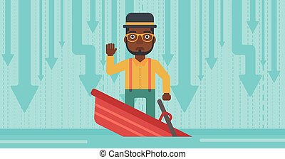 Businessman standing in sinking boat.