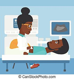 Patient during ultrasound examination - An african-american...