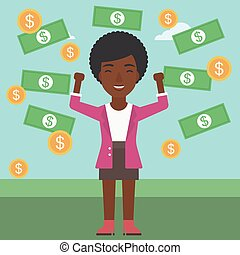 Happy business woman under money rain. - An african-american...