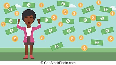 Happy businessman under money rain. - An african-american...