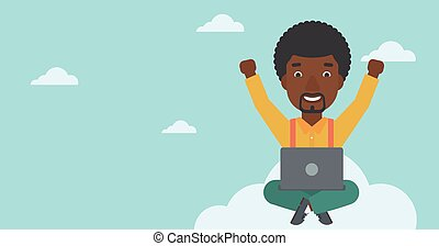 Man on cloud with laptop vector illustration. - An...
