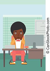 Tired woman sitting in office vector illustration - An...