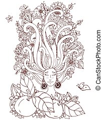 Vector illustration Zen Tangle girl with freckles sleeps. Doodle flowers in her hair, butterfly. Coloring book anti stress for adults. Brown white.
