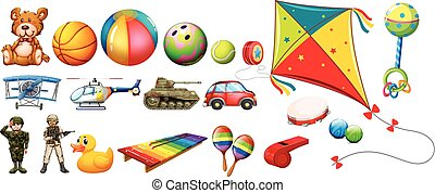 Set of many colorful toys illustration