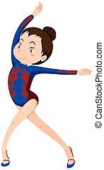 menina, ginástica, exercício, chão