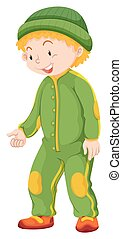 Boy in green jumpsuit and hat illustration