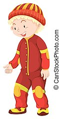 Little boy in red jumpsuit illustration