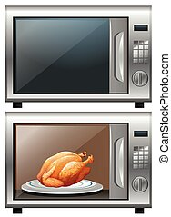 Roasted chicken in microwave oven illustration