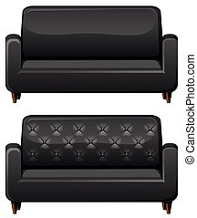 Sofa with black leather