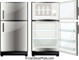 Refridgerator with closed and opened door