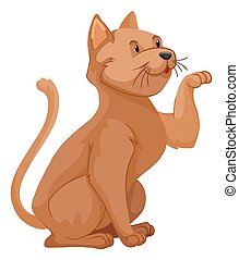 Short hair cat with brown hair illustration