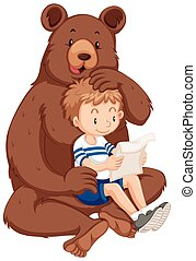Boy and grizzly bear illustration