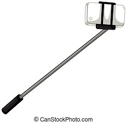 Selfie stick with cellphone
