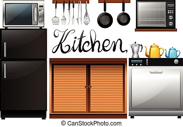 Kitchen full of equipment and furnitures illustration