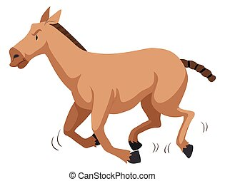 Brown horse running fast illustration
