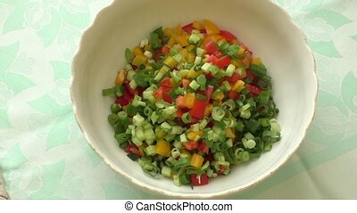Cut vegetables in a bowl