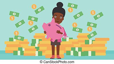 Business woman with piggy bank vector illustration