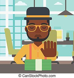 Man refusing bribe vector illustration - An african-american...