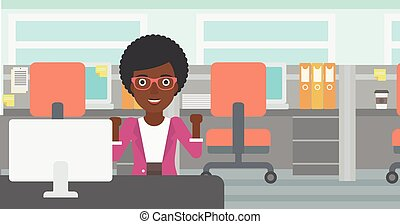 Successful business woman vector illustration - An...