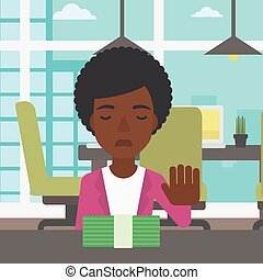 Woman refusing bribe vector illustration - An...