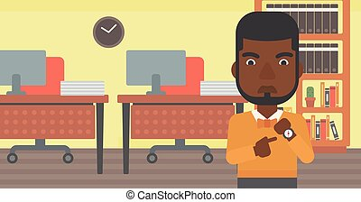 Angry businessman pointing at wrist watch - An...