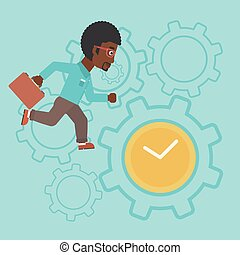 Businessman running vector illustration.