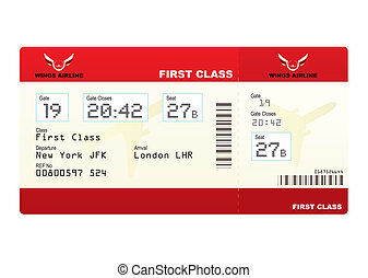 plane tickets first class - Red first class plane ticket...