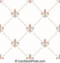 fleur de lis sign and dot, seamless pattern