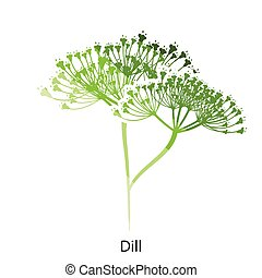 Dill icon Flat color design Vector illustration