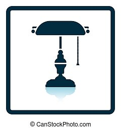 Writer's lamp icon. Shadow reflection design. Vector...