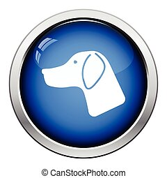 Hunting dog had icon. Glossy button design. Vector...