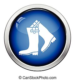 Hunter's rubber boots icon. Glossy button design. Vector...