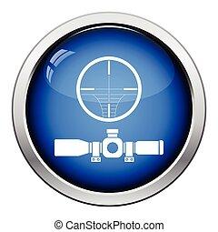 Scope icon. Glossy button design. Vector illustration.